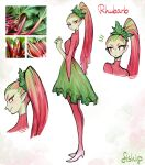 1girl absurdres blush breasts closed_mouth colored_skin full_body green_hair green_skin high_heels highres long_hair matilda_fiship medium_breasts monster_girl multicolored_hair multiple_views original photo-referenced plant_girl ponytail red_eyes redhead rhubarb skirt smile standing