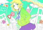 1girl alternate_costume bangs blonde_hair blue_neckwear blush bottle closed_mouth clouds colored_skin commentary_request cookie_(touhou) cowboy_shot earphones earphones eyebrows_visible_through_hair green_eyes green_sweatshirt hands_in_pockets joker_(cookie) long_sleeves looking_at_viewer mizuhashi_parsee odenoden parted_bangs plastic_bottle pleated_skirt pointy_ears purple_skirt road_sign school_uniform serafuku short_hair sign skirt solo stop_sign surreal sweatshirt touhou traffic_light umbrella white_skin