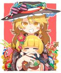 2girls archery arrow_(projectile) biting black_kimono blonde_hair blush_stickers bow braid chopsticks daruma_doll earrings festival finger_biting floral_print flower flower_on_head hair_flower hair_ornament hat hat_bow highres japanese_clothes jewelry kimono kirisame_marisa looking_at_viewer moyazou_(kitaguni_moyashi_seizoujo) multiple_girls red_flower rumia short_hair single_braid smile summer_festival touhou translation_request witch_hat yellow_eyes