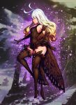1girl anne_(bravely_second) antenna_hair black_footwear black_gloves black_legwear black_leotard boots bravely_default_(series) bravely_second:_end_layer breasts butterfly_wings closed_eyes elbow_gloves fairy from_side full_body gloves high_heels highres kuzanagi009 leg_up leotard long_hair outdoors pointy_ears small_breasts solo standing standing_on_one_leg thigh-highs thigh_boots thighs white_hair wings