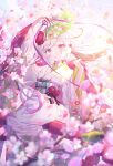 1girl arm_up bangs blue_eyes blurry blurry_foreground blush commentary_request copyright_request depth_of_field eyebrows_visible_through_hair fan flower folding_fan hand_up highres holding holding_fan ibara_riato japanese_clothes kimono long_hair long_sleeves obi official_art parted_lips petals pink_flower red_flower sash silver_hair solo tree_branch very_long_hair white_kimono wide_sleeves