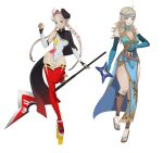 2girls absurdres ahoge alternate_costume blonde_hair braid breasts commission commissioner_upload cosplay fire_emblem fire_emblem_fates fire_emblem_heroes grey_eyes grey_hair hairband highres holding holding_weapon laevatein_(fire_emblem) laevatein_(fire_emblem)_(cosplay) looking_at_viewer lyn_(fire_emblem) lyn_(fire_emblem)_(cosplay) multiple_girls nina_(fire_emblem) ninja_mask ophelia_(fire_emblem) sandals thigh-highs twin_braids weapon yangartworks