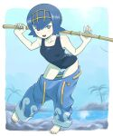 1girl bangs bare_arms barefoot blue_eyes blue_hair blue_pants blush border breasts bright_pupils clothes_pull collarbone fishing_rod hairband highres holding holding_fishing_rod lana_(pokemon) looking_at_viewer nutkingcall one-piece_swimsuit open_mouth outside_border palm_tree pants pants_pull pokemon pokemon_(game) pokemon_sm short_hair smile solo swimsuit teeth toes tongue tree trial_captain water white_border white_pupils yellow_hairband