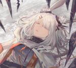 1girl animal_ears arknights bangs bingansuan_jiamouren commentary_request frostnova_(arknights) grey_eyes hair_ornament hair_over_one_eye hairclip highres jacket long_hair looking_up lying on_back rabbit_ears scar scar_on_face scar_on_nose upper_body white_hair