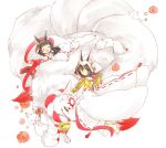 :d ^_^ ^o^ animal_ears azur_lane bangs bell black_hair blunt_bangs closed_eyes commentary_request detached_sleeves ekuramani eyebrows_visible_through_hair fox fox_ears fox_girl hair_ornament headpiece hug japanese_clothes kimono long_hair looking_at_viewer mutsuki_(azur_lane) nagato_(great_fox's_shiroshouzoku)_(azur_lane) no_shoes open_mouth ribbon-trimmed_sleeves ribbon_trim shiroshouzoku short_hair sidelocks simple_background smile tsunokakushi uchikake white_background wide_sleeves yellow_eyes