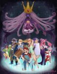 4boys 6+girls absurdres admiral_bobbery artist_name demon demon_girl earrings egg eye_mask eyepatch facial_hair flurrie glasses goombella hammer hat helmet highres hollarity humanization jewelry koopie_koo koops long_hair mario mario_(series) ms._mowz multiple_boys multiple_girls mustache necklace paper_mario:_the_thousand_year_door pipe possessed princess_peach shadow_queen signature vivian_(paper_mario) witch_hat yoshi