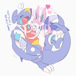 black_sclera blue_eyes claws colored_sclera commentary_request eye_contact fangs garchomp gen_4_pokemon gen_6_pokemon heart highres izobe looking_at_another no_humans open_mouth paws pokemon pokemon_(creature) smile sweatdrop sylveon toes tongue translation_request yellow_eyes