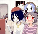 4girls alternate_costume bangs baseball_cap bird black_eyes black_shirt blue_hair blue_shirt chicken commentary_request controller cookie_(touhou) couch flour_(cookie) game_controller grey_hair hat highres hood indoors kofji_(cookie) kumoi_ichirin light_blue_hair looking_at_another looking_to_the_side milk_(cookie) miyako_(naotsugu) multiple_girls murasa_minamitsu nazrin nyon_(cookie) open_mouth purple_shirt red_eyes red_headwear shirt short_hair sitting striped striped_shirt television touhou upper_body white_shirt wii_remote window
