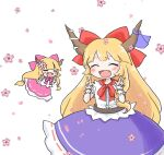 2girls =_= ajitsuki arm_garter bangs belt blonde_hair blue_bow blue_skirt blunt_bangs bow chibi double_w fang floral_background frilled_skirt frills horn_bow horn_ornament horn_ribbon horns ibuki_suika long_hair multiple_girls neckerchief open_mouth pink_bow pink_neckwear pink_skirt red_bow red_neckwear ribbon shirt skirt sleeveless sleeveless_shirt smile torn_clothes torn_sleeves touhou w white_shirt