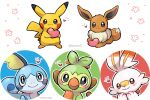 :3 artist_name blue_eyes blush brown_fur closed_mouth commentary_request eevee gen_1_pokemon gen_8_pokemon grey_eyes grookey heart holding lying no_humans on_stomach outline paws pikachu pokemon pokemon_(creature) scorbunny smile sobble standing starter_pokemon tansho toes