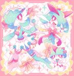 blush bow bright_pupils clothed_pokemon commentary_request flower flying_sweatdrops framed frills gardevoir gen_3_pokemon holding jewelry jippe kirlia open_mouth pokemon pokemon_(creature) ralts red_eyes ribbon smile sparkle tongue white_pupils