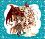 2boys 2girls armor blonde_hair chaos_(dff) chaos_(ff1) chibi commentary_request cosmos_(dff) dress fangs final_fantasy final_fantasy_i hands_together helmet horns long_hair monster multiple_boys multiple_girls nina_(&_lucie) pink_hair sarah_(ff1) smile standing sword theatrhythm_final_fantasy warrior_of_light wavy_hair weapon white_hair wings