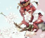 1girl bangs benienma_(fate) branch commentary_request fate/grand_order fate_(series) feathered_cape flower geta hat japanese_clothes kimono looking_at_viewer parted_bangs petals red_eyes red_kimono redhead short_kimono signature sitting sitting_on_branch solo srm343 tabi twitter_username