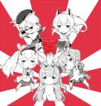 >:) 5girls :d ahoge arm_up arms_up ayanami_(azur_lane) azur_lane bangs beret bottle bow bracelet chibi clenched_hand cola commentary crown detached_sleeves dress elbow_gloves english_commentary eyebrows_visible_through_hair eyes_visible_through_hair full_body gainoob ginyu_force_pose gloves hair_bow hair_bun hair_ornament hair_ribbon hairpin hat headgear holding holding_bottle iron_cross jacket javelin_(azur_lane) jewelry laffey_(azur_lane) long_hair long_sleeves looking_at_viewer midriff mini_crown multiple_girls navel one_side_up open_mouth outstretched_arms plaid plaid_skirt pleated_skirt ponytail pose raised_fist ribbon school_uniform serafuku short_hair side_bun sidelocks simple_background skirt smile soda_bottle spread_arms standing standing_on_one_leg stuffed_animal stuffed_toy stuffed_winged_unicorn thigh-highs twintails unicorn_(azur_lane) watermark z23_(azur_lane) zettai_ryouiki
