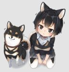 1girl :3 animal animal_ear_fluff animal_ears bangs black_hair collar commentary creature_and_personification dog dog_ears dog_girl dog_tail grey_background looking_at_viewer nyifu original pantyhose pleated_skirt shiba_inu shirt short_hair simple_background sitting skirt tail thick_eyebrows twitter_username white_background white_shirt wing_collar