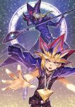 2boys belt blonde_hair bright_pupils chain_necklace collar commentary_request dark_magician fushitasu jacket jacket_on_shoulders looking_at_viewer male_focus millennium_puzzle multiple_boys open_mouth outline pants purple_hair repost_notice shirt spiky_hair spread_fingers teeth tongue violet_eyes watermark white_pupils yami_yuugi yu-gi-oh! yu-gi-oh!_duel_monsters