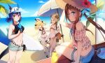 4girls :d amiya_(arknights) animal_ears arknights bangs bare_shoulders baseball_cap beach beach_umbrella bear_ears bikini bikini_under_clothes black_bikini black_bow blonde_hair blue_eyes blue_hair blue_ribbon blue_shorts blush bow breasts brown_eyes brown_hair ch'en_(arknights) closed_eyes commentary_request day demon_horns dress eyebrows_visible_through_hair flat_chest flower food gummy_(arknights) hair_bow hair_rings hat hat_ribbon hibiscus highres holding holding_food holding_plate holding_skewer holding_surfboard horns ifrit_(arknights) long_hair looking_at_viewer medium_breasts multiple_girls navel notice_lines ocean open_mouth orange_eyes outdoors plaid plaid_shirt plate popsicle red_flower ribbon sailor_dress see-through shirt short_hair short_shorts shorts sidelocks sitting skewer sky smile spatula standing standing_on_one_leg stomach straw_hat surfboard swimsuit thigh_strap twintails two_side_up umbrella white_bikini white_dress white_headwear white_shorts yennineii