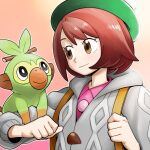 1girl bangs blush bob_cut brown_eyes brown_hair buttons cardigan clenched_hand closed_mouth collared_dress commentary_request dress eyelashes gen_8_pokemon gloria_(pokemon) green_headwear grey_cardigan grookey hat holding_strap hooded_cardigan korean_commentary nutkingcall outline pink_dress pokemon pokemon_(creature) pokemon_(game) pokemon_on_arm pokemon_swsh short_hair smile starter_pokemon tam_o'_shanter