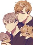 2boys animal_ears animalization black_shirt blonde_hair brothers expressionless eyebrows fox fox_ears grey_hair haikyuu!! half-closed_eyes highres korean_commentary looking_at_viewer male_focus mgmg_1012 miya_atsumu miya_osamu multicolored_hair multiple_boys shirt short_hair siblings simple_background smile twins two-tone_hair upper_body white_background