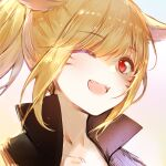 1girl ;d animal_ears bangs black_jacket blonde_hair blue_background brown_background cat_ears collarbone eyebrows_visible_through_hair facial_mark fang final_fantasy final_fantasy_xiv gradient gradient_background hair_over_one_eye high_collar jacket long_hair looking_at_viewer maya_g miqo'te one_eye_closed open_mouth ponytail portrait red_eyes slit_pupils smile solo