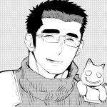 1boy creature cutiebell facial_hair glasses greyscale long_sideburns male_focus master_3_(tokyo_houkago_summoners) monochrome shiro_(tokyo_houkago_summoners) short_hair sideburns smile solo spiky_hair thick_eyebrows tokyo_houkago_summoners