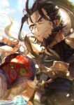 1boy armor beard blurry brown_eyes brown_hair closed_mouth commentary_request depth_of_field facial_hair fingernails floating_hair granblue_fantasy high_ponytail highres holding holding_weapon jin_(granblue_fantasy) karipaku long_hair looking_to_the_side male_focus over_shoulder ponytail scar scar_on_face shoulder_armor smile solo weapon weapon_over_shoulder