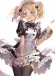 1girl 77gl black_bow black_legwear blonde_hair bow copyright_request garter_straps hair_bow hair_ornament hairclip holding holding_plate looking_at_viewer maid maid_headdress open_mouth plate pointy_ears puffy_short_sleeves puffy_sleeves short_hair short_sleeves simple_background solo thigh-highs twintails violet_eyes wavy_mouth white_background