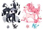 ! !! bone charamells cherrim cherrim_(sunshine) cherry commentary duskull flower food fruit gen_2_pokemon gen_3_pokemon gen_4_pokemon glaceon highres looking_at_viewer looking_back mask paws petals pink_flower pokemon pokemon_(creature) red_eyes standing toes tombstone umbreon white_background