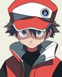 1boy badge bangs baseball_cap black_hair black_shirt blue_eyes closed_mouth coat commentary frown hair_between_eyes hat highres hyou_(hyouga617) looking_at_viewer male_focus pokemon pokemon_(game) pokemon_masters_ex red_(pokemon) red_coat shirt short_hair sleeveless_coat solo upper_body