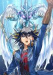1boy antenna_hair arm_up bangs black_hair black_shirt blue_coat blue_eyes brown_gloves character_request coat commentary_request duel_monster fushitasu gloves hair_between_eyes looking_up male_focus open_clothes open_coat open_mouth repost_notice shirt teeth tongue upper_body watermark yu-gi-oh!