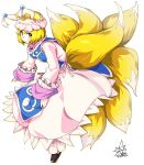 1girl animal_ears bangs black_footwear blonde_hair closed_mouth commentary_request dress eyebrows_visible_through_hair fox_ears fox_tail frilled_sleeves frills from_side full_body hat highres leaning_forward long_sleeves looking_at_viewer multiple_tails partial_commentary pillow_hat short_hair signature simple_background smile solo standing tabard tail touhou umigarasu_(kitsune1963) white_background white_dress white_headwear yakumo_ran yellow_eyes