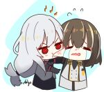 2girls =_= @_@ ankujo arknights bangs beak_mask biting brown_hair cheek_biting chibi coat crying eyebrows_visible_through_hair flying_sweatdrops gloves hair_between_eyes highres long_hair low-tied_long_hair magallan_(arknights) multicolored_hair multiple_girls open_mouth red_eyes signature silver_hair skadi_(arknights) streaming_tears tears two-tone_hair v-shaped_eyebrows wavy_mouth white_coat white_gloves white_hair winter_clothes winter_coat yellow_eyes