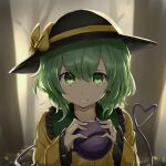 1girl bangs black_headwear blouse blurry blurry_background bow bush closed_mouth commentary_request eyeball eyebrows_visible_through_hair face fog frilled_shirt_collar frills green_eyes green_hair hair_between_eyes hands_up hat hat_bow heart heart_of_string highres holding komeiji_koishi long_sleeves looking_at_viewer outdoors short_hair solo third_eye touhou tree twilight upper_body wide_sleeves yellow_blouse yellow_bow yukimiharu