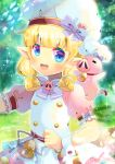 1girl :d animal bangs bell blonde_hair blue_eyes blurry blurry_background blush bow character_request chef_hat depth_of_field dress eyebrows_visible_through_hair hat iris_mysteria! kouu_hiyoyo looking_at_viewer neck_bell open_mouth pig pink_dress pointy_ears puffy_short_sleeves puffy_sleeves purple_bow red_bow short_sleeves smile solo sparkle tail tail_bow tail_ornament thick_eyebrows upper_teeth white_headwear wrist_cuffs