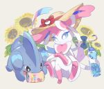 blue_eyes bottle bow brown_eyes can closed_mouth commentary_request drinking_straw fangs flower gen_4_pokemon gen_6_pokemon gible hat hat_ribbon hatted_pokemon holding holding_bottle izobe no_humans open_mouth paws pokemon pokemon_(creature) red_ribbon ribbon sitting straw_hat sunflower sylveon toes