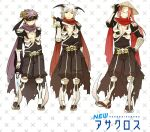 3boys armor armored_boots assassin_cross_(ragnarok_online) bangs black_blindfold black_cape black_pants black_shirt blindfold boots cape closed_mouth commentary_request dagger demon_wings full_body gauntlets hat holding holding_dagger holding_weapon horns jamadhar long_hair looking_at_viewer male_focus mask multiple_boys negi_mugiya open_clothes open_shirt pants pauldrons purple_hair purple_scarf ragnarok_online red_scarf redhead rice_hat scarf shirt short_hair shoulder_armor skull smile torn_cape torn_clothes torn_scarf waist_cape weapon white_hair wings