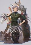 1girl :p absurdres animal_ear_fluff animal_ears arknights bangs black_legwear blush checkered checkered_skirt commentary eyebrows_visible_through_hair food grani_(arknights) grani_(miraculous_moment)_(arknights) green_shirt grey_eyes highres hip_vent holding holding_food horse_ears horse_girl ice_cream ice_cream_cone kneeling looking_at_viewer miniskirt official_alternate_costume one_eye_closed pantyhose shike_guma shirt shoes short_hair silver_hair skirt sneakers solo tongue tongue_out white_footwear