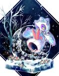 bare_tree blue_eyes closed_mouth colored_sclera commentary_request floating froslass gen_4_pokemon hands_up highres looking_back no_humans pokemon pokemon_(creature) snow snowflakes snowing solo tree yellow_sclera yyy9696yyy