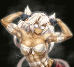 1girl abs artist_name bangs biceps black_background breasts commentary_request dark_skin dark_skinned_female dated flexing glasses gloves hair_between_eyes kantai_collection large_breasts miniskirt musashi_(kancolle) muscular muscular_female partially_fingerless_gloves platinum_blonde_hair pointy_hair pose rectangular_eyewear red_skirt sarashi short_hair_with_long_locks signature simple_background skirt solo tk8d32 twintails two_side_up