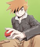 1boy bangs belt belt_buckle blue_oak brown_eyes brown_pants buckle closed_mouth green_background highres holding holding_poke_ball jacket jewelry long_sleeves male_focus necklace nutkingcall orange_hair outline pants poke_ball poke_ball_(basic) pokemon pokemon_(game) pokemon_hgss simple_background smile solo spiky_hair spread_legs
