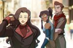 1boy 2girls adjusting_hair asami_sato avatar_(series) bisexual_(female) blue_eyes blurry blurry_background dark_skin dark_skinned_female distracted_boyfriend_(meme) elbow_gloves eyeshadow gloves green_eyes korra makeup mako_(avatar) multiple_girls photo_background ponytail red_lips red_scarf scarf sleeveless the_legend_of_korra unoobang upper_body