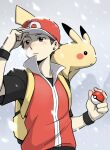 1boy backpack bag baseball_cap black_shirt black_wristband blush brown_eyes brown_hair closed_mouth cold commentary gen_1_pokemon hat highres holding holding_poke_ball jacket looking_to_the_side male_focus nutkingcall on_shoulder pikachu poke_ball poke_ball_(basic) pokemon pokemon_(creature) pokemon_(game) pokemon_frlg pokemon_on_shoulder popped_collar red_(pokemon) red_headwear shirt short_hair short_sleeves sleeveless sleeveless_jacket snow snowing wristband yellow_bag