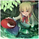 1girl alcohol blue_skirt blush border bow chain drunk eyebrows_visible_through_hair fang full-face_blush hair_bow highres horn_ornament horn_ribbon horns ibuki_suika kuro_kosyou leaf long_hair looking_at_viewer oni open_mouth orange_hair partially_submerged red_eyes ribbon sake shirt sidelocks sitting skin_fang skirt sleeveless sleeveless_shirt smile solo torn_clothes torn_sleeves touhou water white_border white_shirt wrist_cuffs
