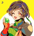 1girl ;d armor brown_eyes brown_hair final_fantasy final_fantasy_vii final_fantasy_vii_remake fingerless_gloves gloves hair_ribbon headband looking_at_viewer materia mizuki_tsukimori one_eye_closed open_mouth orange_gloves ribbed_shirt ribbon shirt short_hair shoulder_armor simple_background smile upper_body yellow_background yuffie_kisaragi