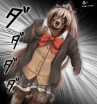 1girl animalization artist_name bangs blazer blue_eyes bow bowtie brown_cardigan brown_hair brown_jacket brown_skirt cardigan collared_shirt commentary_request dated high_ponytail jacket kantai_collection kumano_(kancolle) long_hair long_sleeves open_clothes open_jacket ponytail pun red_bow red_neckwear running school_uniform shirt signature skirt solo tk8d32 white_shirt