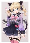 1girl :d animal_ears bell black_choker black_sailor_collar black_skirt blonde_hair blue_eyes blue_nails blush border bow bowtie cat_ears choker cowboy_shot eyebrows_visible_through_hair fingernails frilled_bow frilled_neckwear frills grey_background hair_bow hand_up heart highres ikeuchi_tanuma long_sleeves looking_at_viewer miniskirt nail_polish neck_bell open_mouth original pink_bow pink_legwear pink_neckwear purple_shirt red_nails sailor_collar school_uniform serafuku shirt skirt smile solo thigh-highs twintails watermark white_border