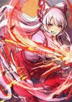 1girl absurdly_long_hair bangs blurry blurry_background bow clenched_teeth commentary_request depth_of_field ekisutora embers eyebrows_visible_through_hair fire floating_hair foot_out_of_frame fujiwara_no_mokou hair_bow hair_ribbon highres light_particles long_hair ofuda ofuda_on_clothes one-hour_drawing_challenge pants pyrokinesis red_bow red_pants ribbon serious shirt simple_background solo suspenders teeth touhou tress_ribbon v-shaped_eyebrows very_long_hair white_bow white_shirt