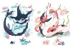 charamells closed_mouth commentary eyelashes finneon fish gen_1_pokemon gen_3_pokemon gen_4_pokemon goldeen green_eyes highres horns lily_pad milotic no_humans paws pokemon pokemon_(creature) single_horn toes vaporeon water water_drop white_background