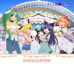 4girls amusement_park bangs black_legwear blonde_hair blue_hair blue_shorts blunt_bangs character_request closed_eyes clothes_around_waist commentary_request crossover denim denim_shorts dress furude_rika green_dress green_eyes green_hair hello_kitty hello_kitty_(character) highres higurashi_no_naku_koro_ni houjou_satoko hug jacket jacket_around_waist jeans kuromi logo long_hair multiple_girls official_art onegai_my_melody open_mouth orange_hair pants pink_shirt ponytail ryuuguu_rena sanrio sanrio_puroland shirt short_hair shorts sleeveless sleeveless_shirt sonozaki_mion spaghetti_strap take_it_home thigh-highs violet_eyes watanabe_akio white_dress yellow_shirt