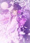 1girl :d animal_ear_fluff animal_ears blurry blurry_foreground blush bow bridge brown_eyes commentary_request depth_of_field fang flower from_behind full_moon hair_flower hair_ornament highres ikari_(aor3507) japanese_clothes kimono long_hair long_sleeves looking_at_viewer looking_back moon open_mouth original pink_flower purple_bow purple_flower purple_kimono purple_rose rose sleeves_past_wrists smile solo tail tree twitter_username very_long_hair water white_flower wide_sleeves